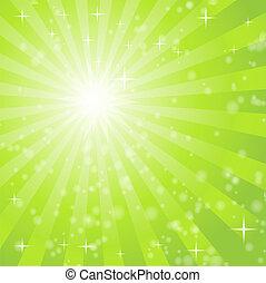 luce, astratto, raggi, sfondo verde