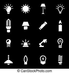 luce, bianco, vettore, set, icona