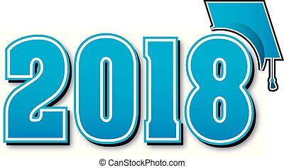 luce blu, berretto, graduazione, grande, 2018