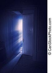 luce blu, dietro, raggi, porta