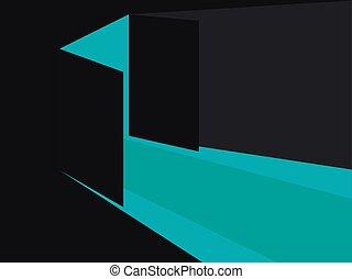 luce blu, door., lights., illustrazione, vettore, aperto