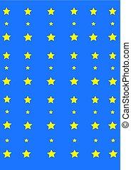 luce blu, fondo, giallo, stelle