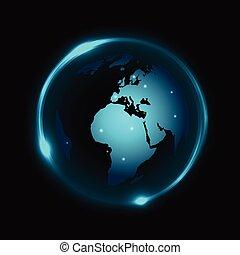luce blu, globo, neon, scuro, vettore, fondo