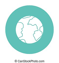 luce blu, globo, terra, cerchio, icona