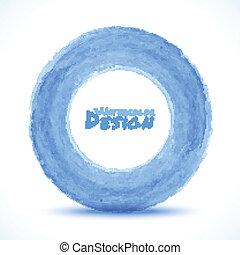 luce blu, mano, acquarello, disegnato, cerchio