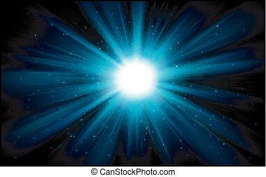 luce blu, oscurità, fondo, lucente
