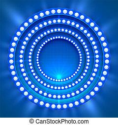 luce blu, podio, mostra, fondo.