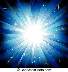luce blu, stelle, sfavillante, scoppio