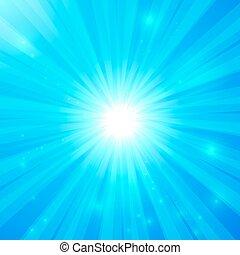 luce blu, vettore, fondo, lucente