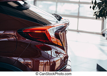 luce, coda, moderno, closeup, automobile