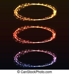 luce colorita, astratto, anelli, disegno, element., splendore