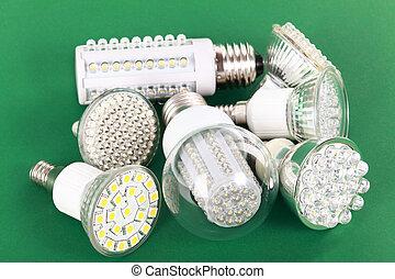 luce, condotto, verde, newest, bulbo