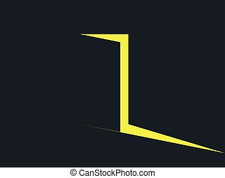 luce, door., light., illustrazione, vettore, giallo, aperto