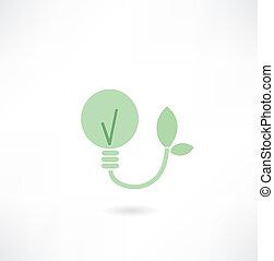 luce, ecologico, bulbo, icona