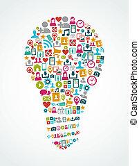 luce, eps10, icone, media, idea, isolato, sociale, bulbo, file.