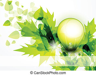 luce, foglie, concetto, verde, bulbo