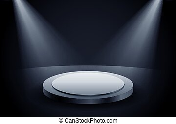 luce, fondo, presentazione, due, podio, fuoco