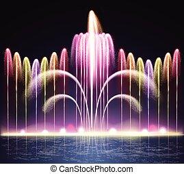 luce, fontana, realistico, fondo, notte
