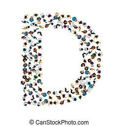 luce, gruppo, d, persone, alfabeto, fondo., forma, vettore, lettera, inglese, illustration.
