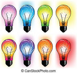 luce, illustrazione, bulbo