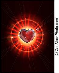 luce, immagine, raggi, dinamico, cuore