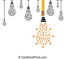 luce, ingranaggi, bulbo