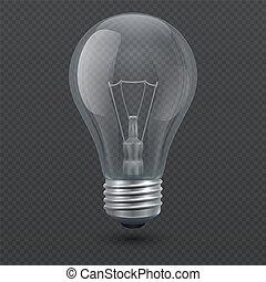 luce, isolato, illustrazione, realistico, vettore, fondo, bulbo, trasparente, 3d