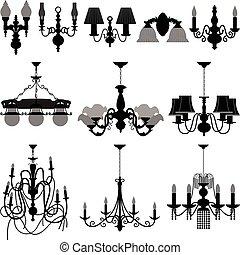 luce, lampada, candeliere