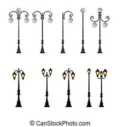 luce, lampada, polo, strada, lampione, palo, strada