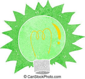 luce, lampeggio, verde, cartone animato, bulbo