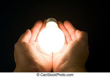 luce, luminoso, bulbo, mano