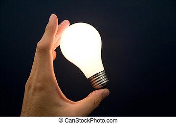 luce, luminoso, bulbo, tenendo mano