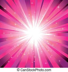 luce, magenta, stelle, sfavillante, scoppio