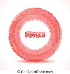 luce, mano, acquarello, disegnato, cerchio, rosso