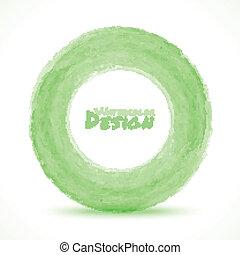 luce, mano, acquarello, verde, disegnato, cerchio