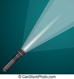 luce, metal., nero, flashlight., trave