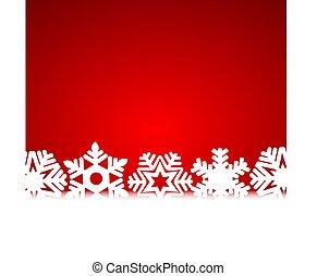 luce, natale, fiocchi neve, fondo, rosso