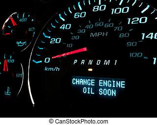 luce, olio, avvertimento, presto, cambiamento