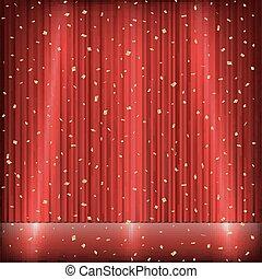 luce oro, coriandoli, tenda, rosso, palcoscenico