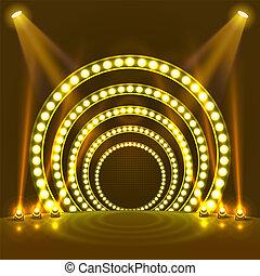 luce, podio, mostra, giallo, fondo.