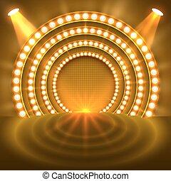 luce, podio, mostra, oro, fondo.