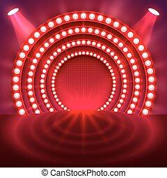 luce, podio, mostra, rosso, fondo.