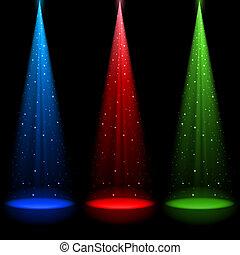 luce, rgb, conico, tre, alberi