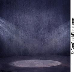 luce, scena, 2, spo, grungy, vuoto