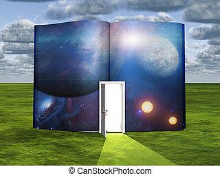 luce, scena, narrativa, porta, libro, scienza, aperto