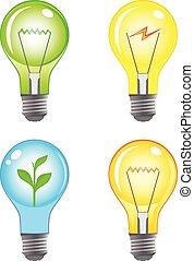 luce, set, colorito, lampadine