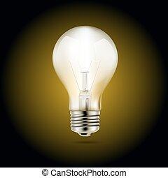 luce, simbolo, illustrazione, scuro, fondo., vettore, illuminazione, bulbo