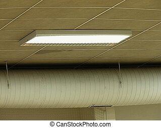 luce soffitto, infisso, magazzino, fluorescente, bianco