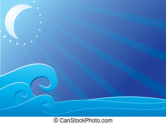 luce, sopra, mare, luna