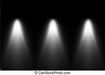 luce, source., tre, vettore, nero, bianco